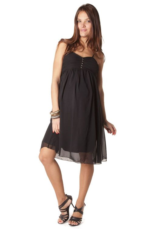 belle robe femme enceinte bretelles en voile doubl au niveau de la poitrine le tissu est. Black Bedroom Furniture Sets. Home Design Ideas