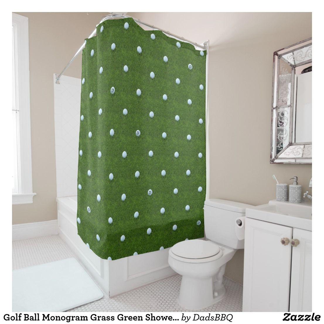 Golf Ball Monogram Grass Green Shower Curtain Zazzle Com Green