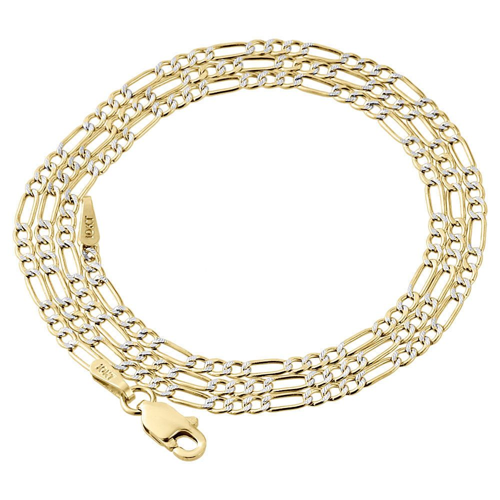 Awesome awesome real k yellow gold diamond cut figaro style chain