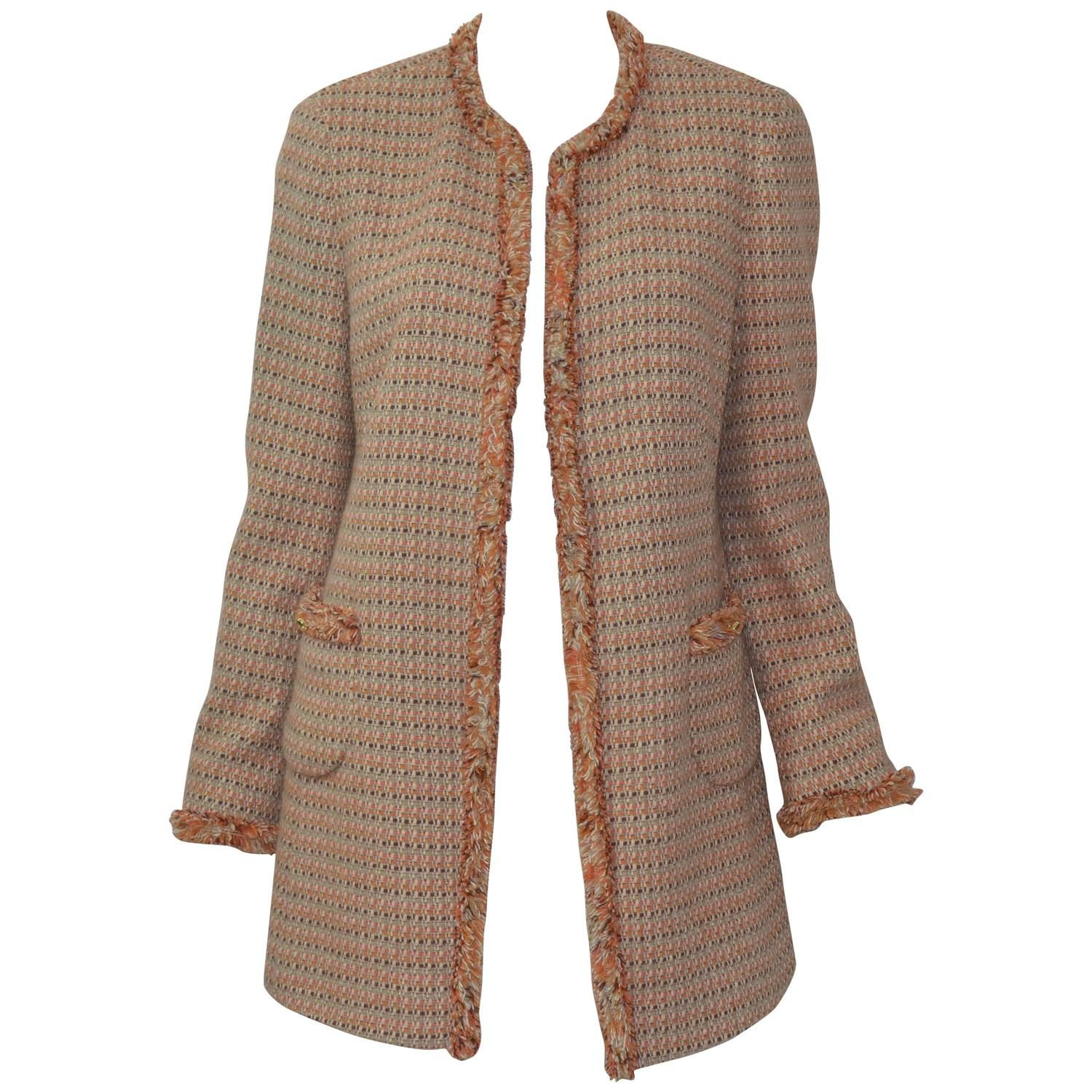 c4d065fdcce Chanel Classic Tweed Knit Fringe Jacket