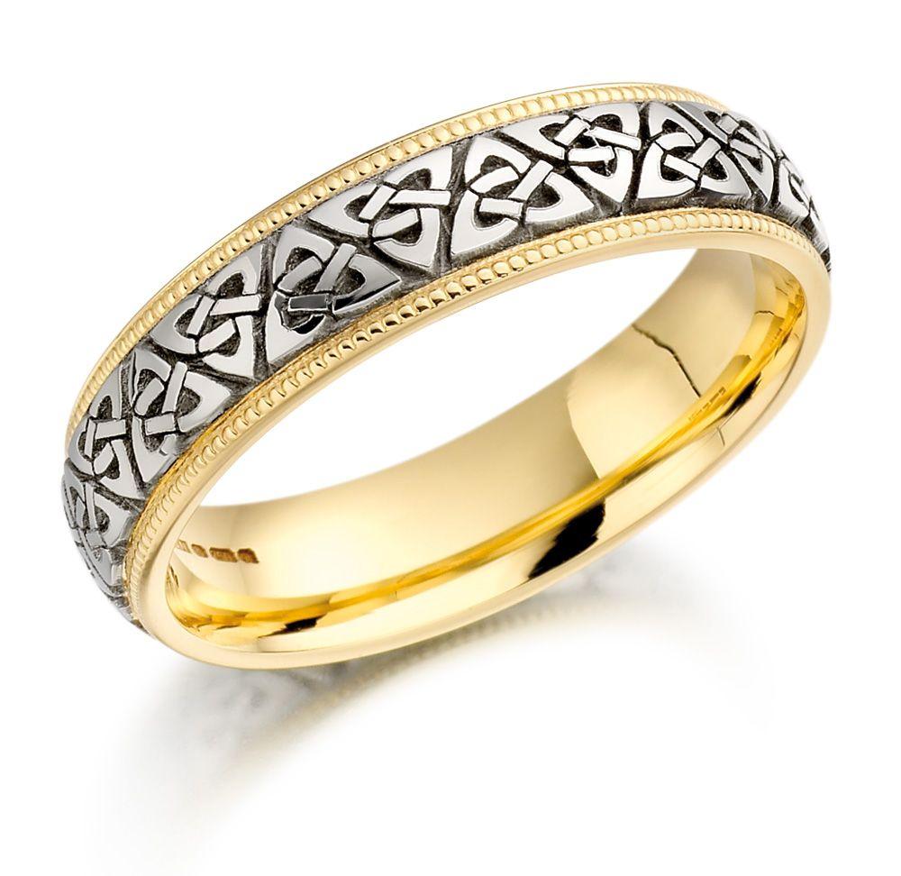 Trinity Knot Wedding Ring Las Two Tone Celtic Irish Band