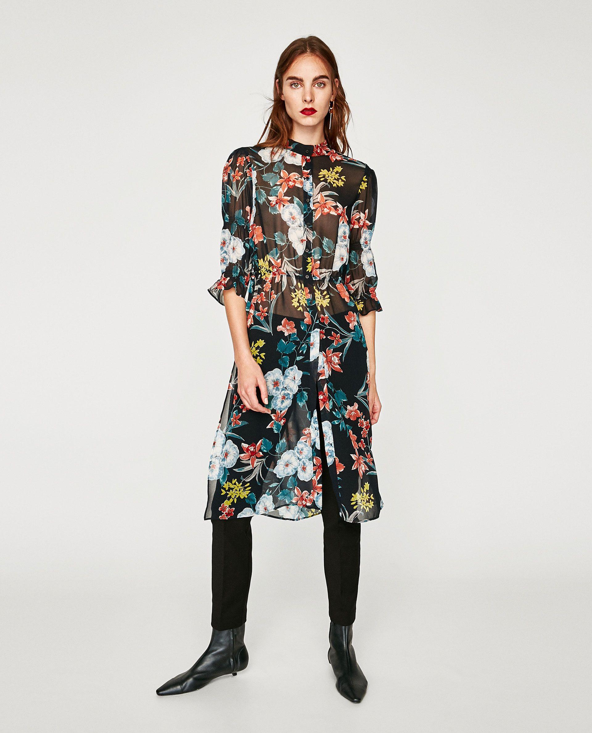 original mejor calificado rebajas outlet mitad de descuento CAMISA LARGA ESTAMPADO FLORAL | Fashions | Camisas largas ...