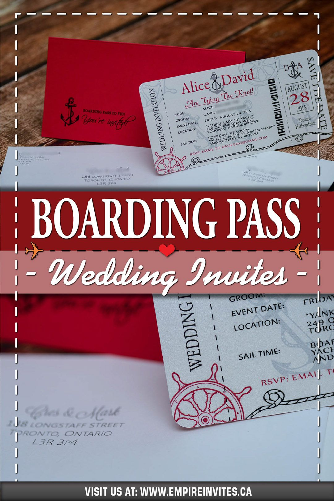 Red Nautical boarding pass wedding invitations for a