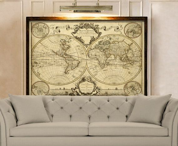 1720 Old World Map Restoration decor Style World Map Guillaume de L'Isle mappe monde Wall Map #worldmapmural