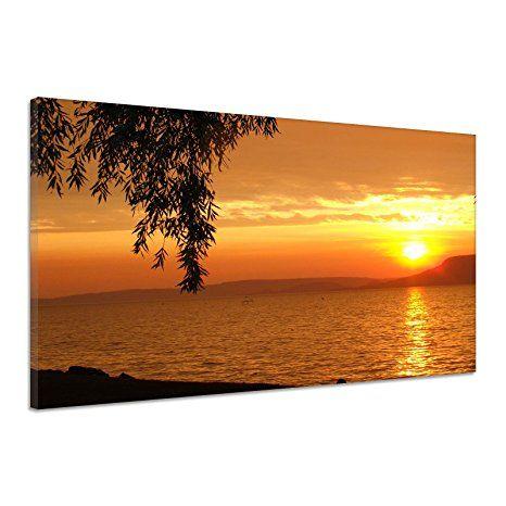 Sonnenuntergang Wasser Himmel Ozean Meer Geäst Leinwand Poster Druck