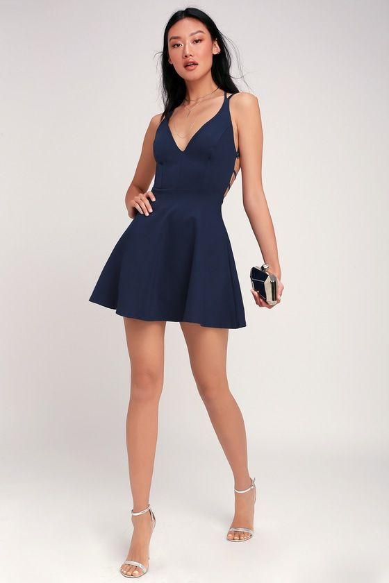 Lulus | Believe in Love Navy Blue Backless Skater Dress | Size Large | 100% Polyester #shortbacklessdress