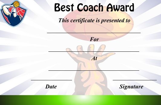 Basketball Coach Certificate Template  Basketball Certificate