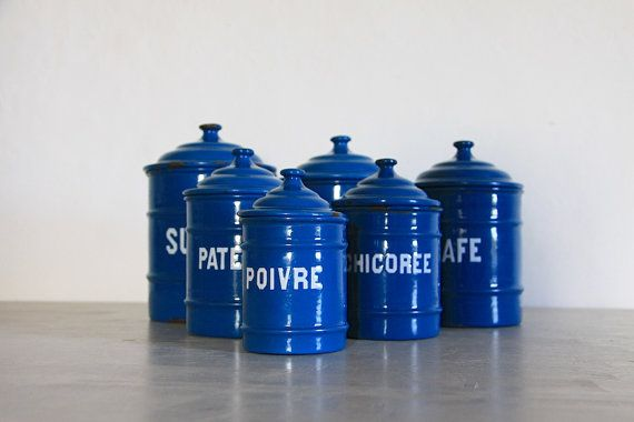 Antique French Enamel Kitchen Canister Set of 6 Petrol Blue ...