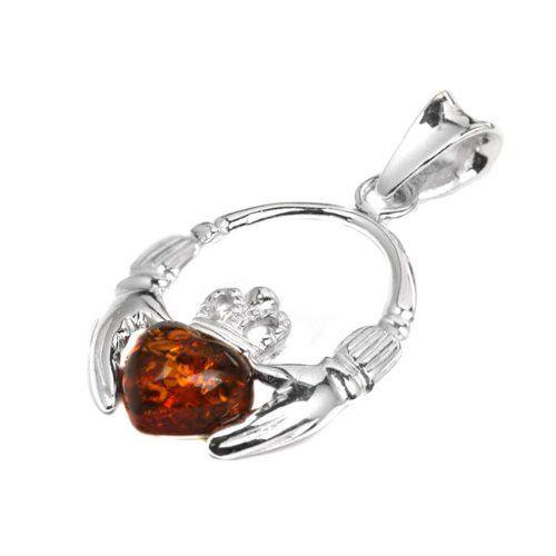Honey Amber Sterling Silver Claddagh Earrings 5GqSpGd0S