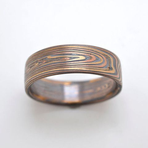 Rustic Wood Grain Mokume Gane wedding band in 14k Red Gold 14k