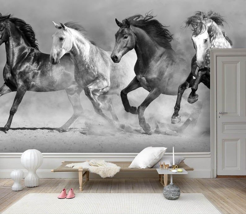 3d Black And White Steed Wallpaper Removable Self Adhesive Wallpaper Wall Mural Vintage Art Peel And Stick Horse Mural Mural Wallpaper Wallpaper