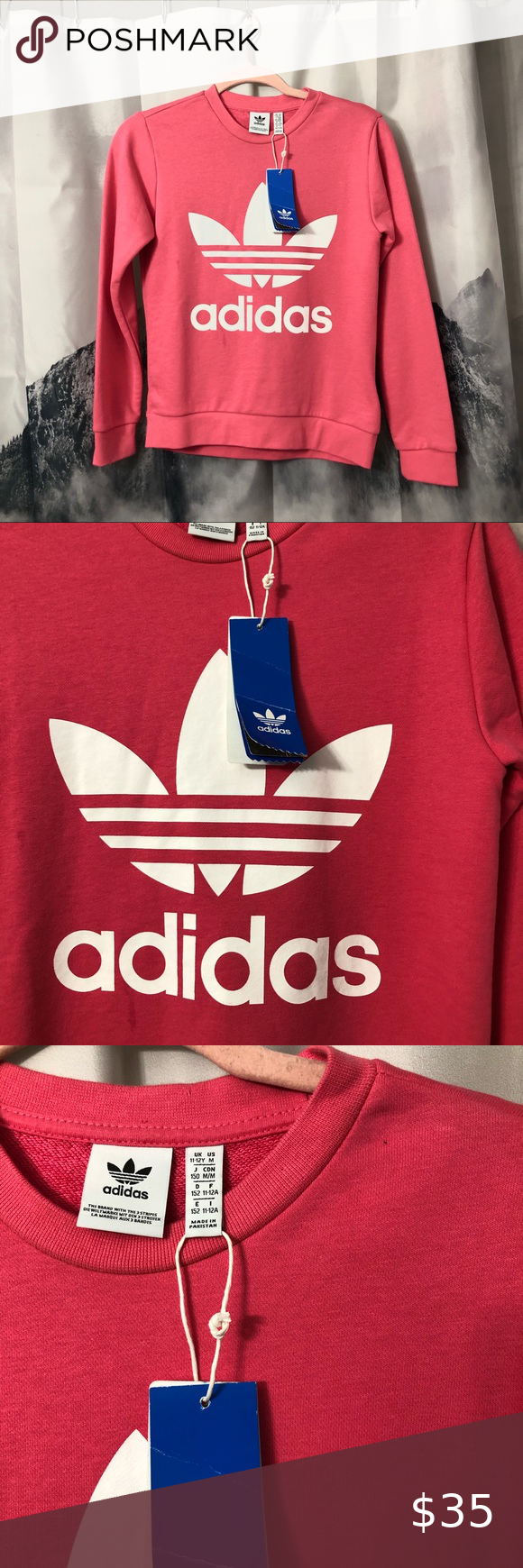 Adidas Trefoil Kids Pink Pullover Sz Med Cf 8570 Adidas Trefoil Pullover Adidas Shirt [ 1740 x 580 Pixel ]