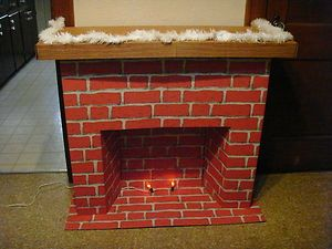 This is awesome. Vintage Miles Kimbell Christmas Cardboard Fireplace Complete in Box | eBay
