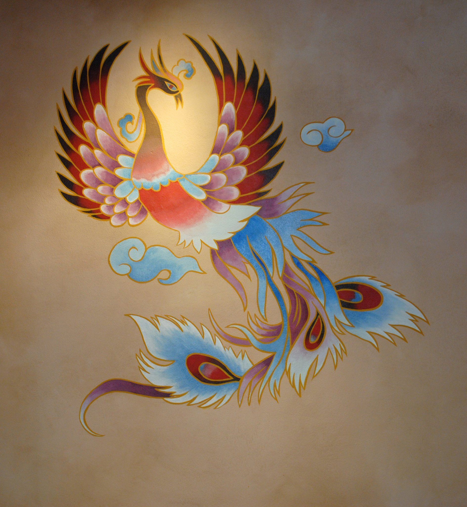 Japanese phoenix mural at epcot by andrew spear tattoo