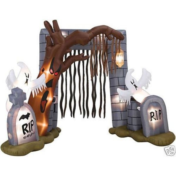 Inflatable halloween ghostes tomstone and spooky tree