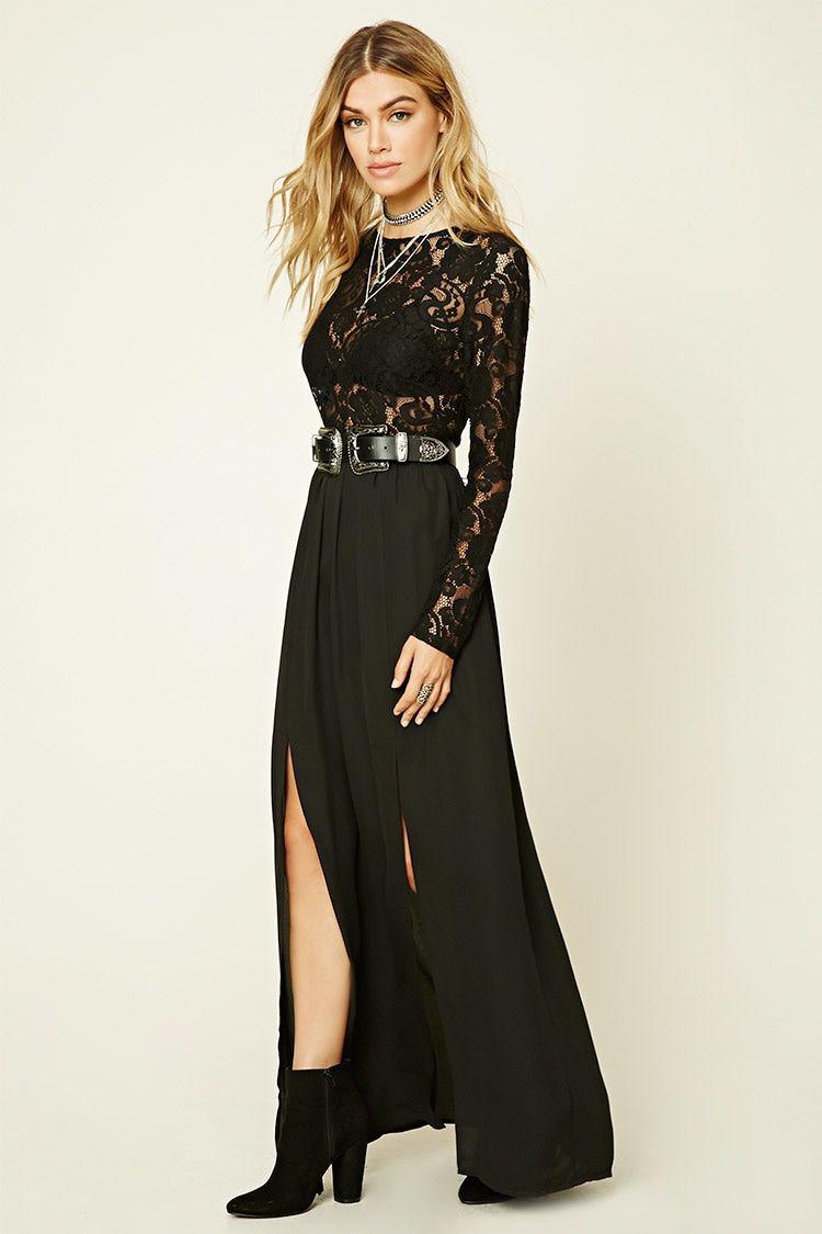 c3db674b014 A maxi dress featuring a semi-sheer crochet lace bodice