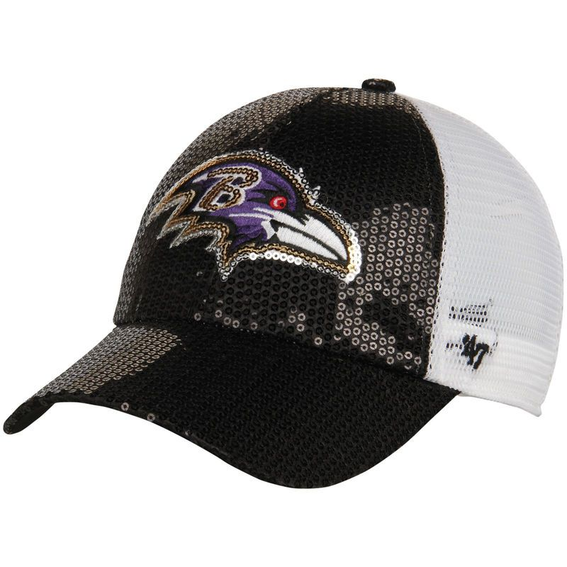 Baltimore Ravens  47 Women s Dazzle Mesh Clean Up Adjustable Hat - Black f3cb399a6