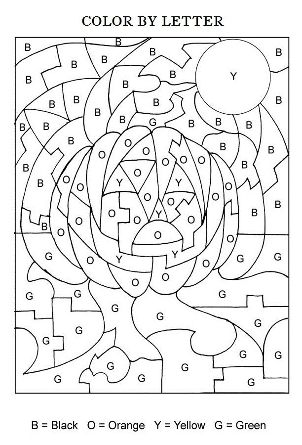 halloween color by letters activity coloring pages for