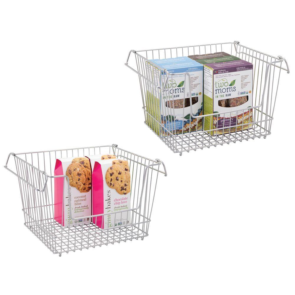 Large Stacking Wire Kitchen Pantry Food Storage Basket Bin In 2020 Storage Baskets Kitchen Pantry Food Storage Organization