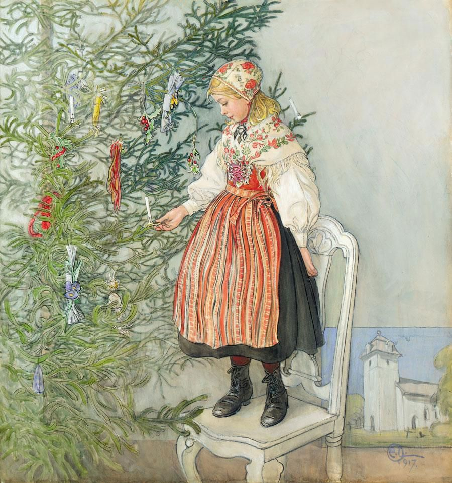 Decorating The Tree Carl Larsson My Christmas Card