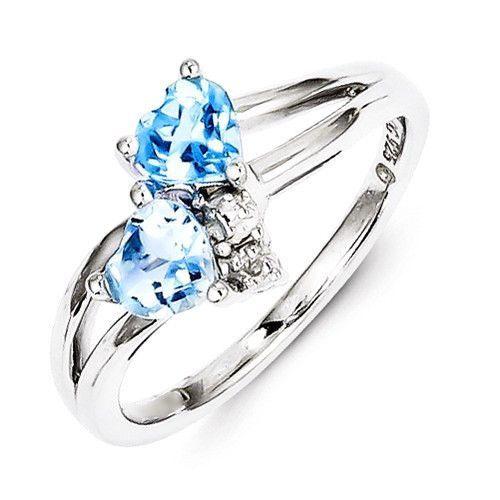 Sterling Silver Blue Topaz Double Heart Diamond Ring Blue topaz
