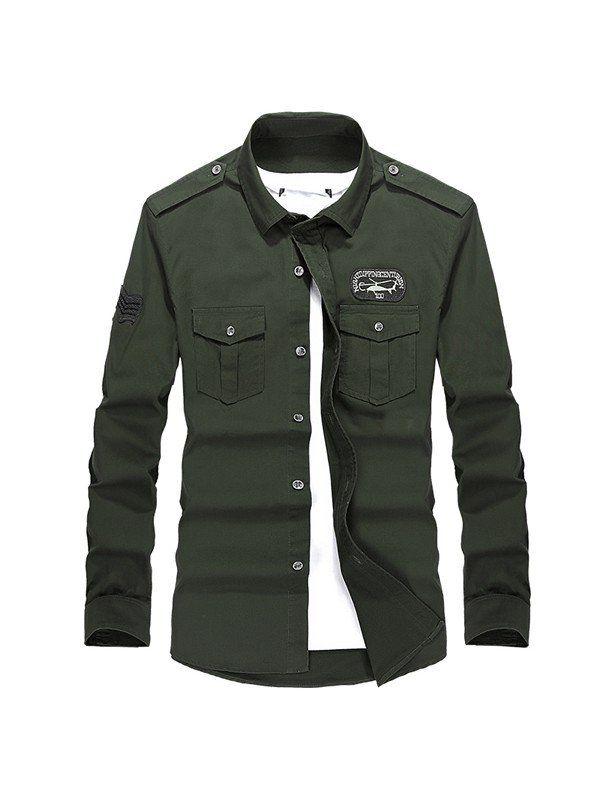 Camisa Estilo Militar Manga Longa  3dc0d6cd263