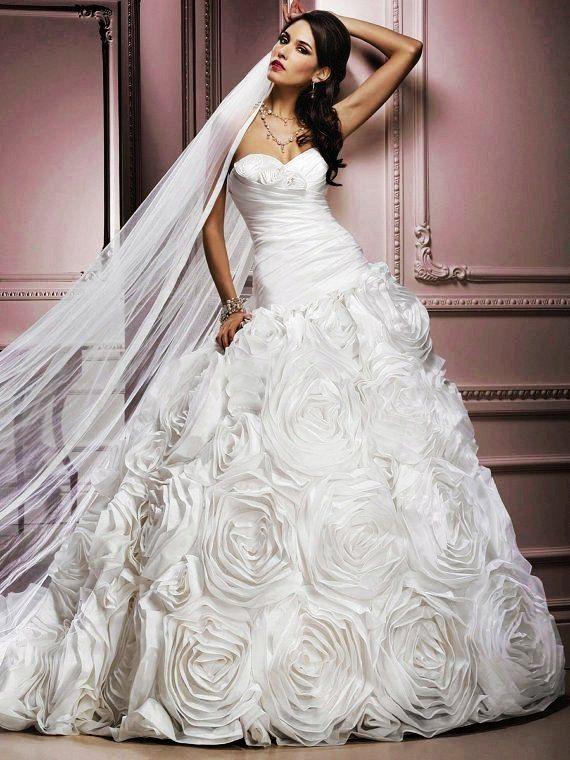 Strapless Rosette Skirt ALine Princess Skirt Wedding Dress Gown - Rosette Wedding Dress