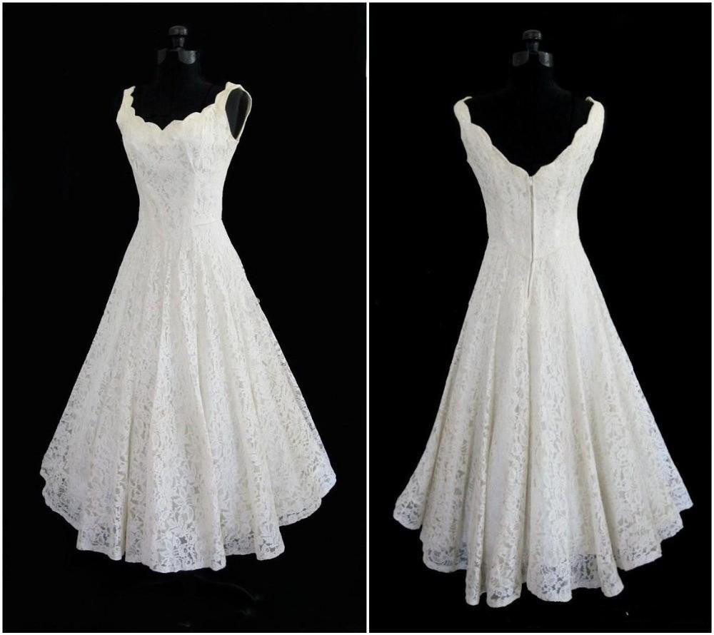 Tea length plus size wedding dresses   Full Lace Short Beach Wedding Dress A line Plus Size Wedding