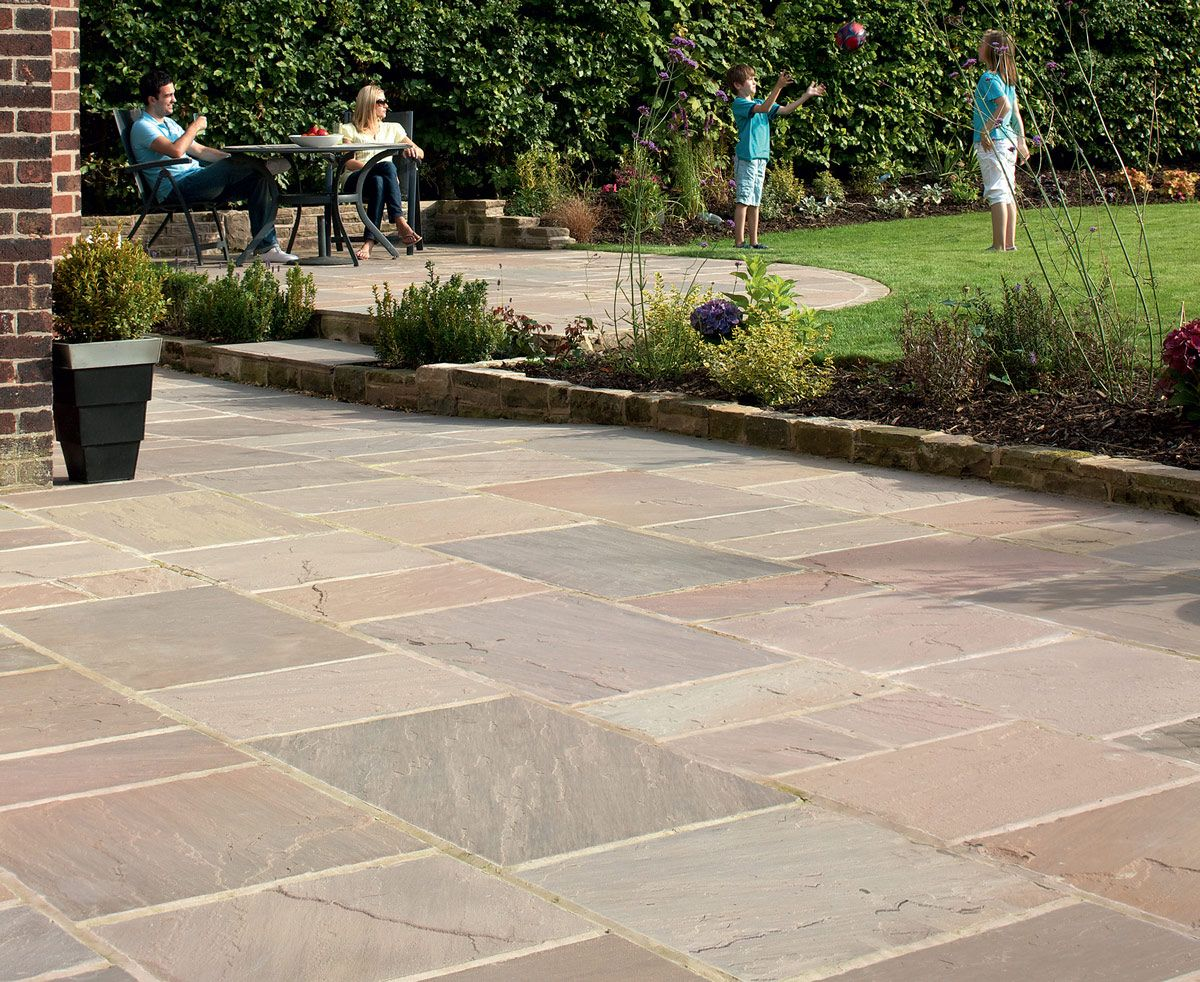 Indian sandstone paving buff multi garden pinterest for Garden decking and slabs