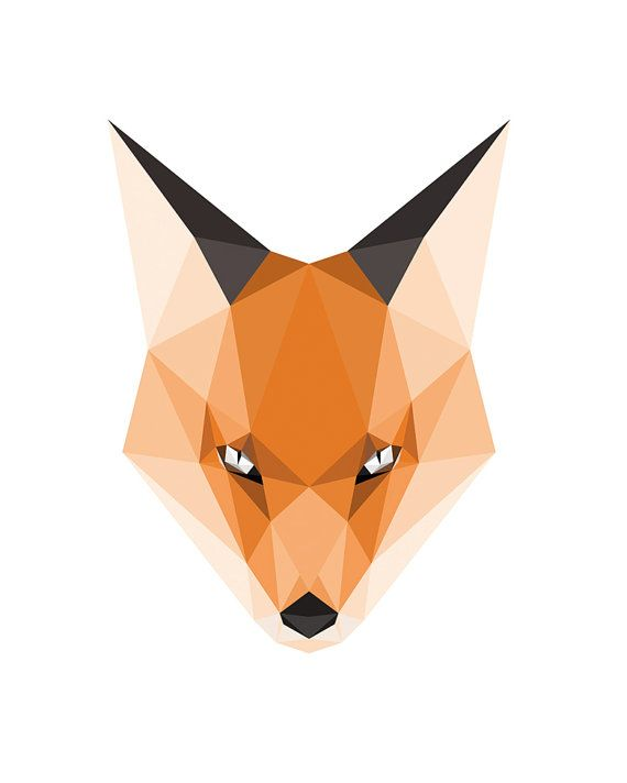 Woodland Animal Print, Geometric Animal Head, Orange Fox ...