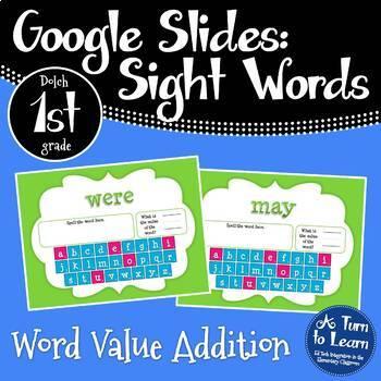 Google Slides Sight Words Word Addition Dolch 1st Grade