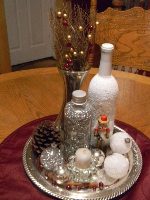 Silver Tray Christmas Table Centerpiece Christmas Decorations December Holidays Christmas Table Centerpieces