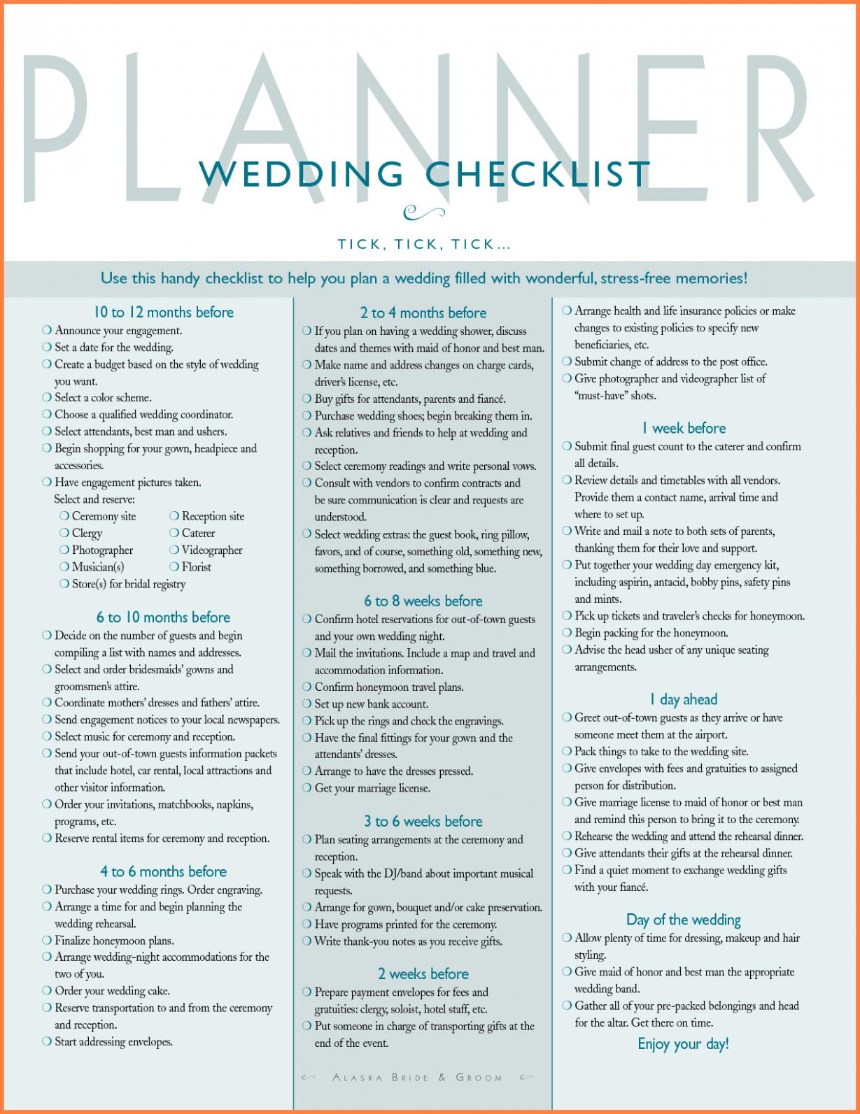 Wedding Checklist Detailed Check Lists Wedding