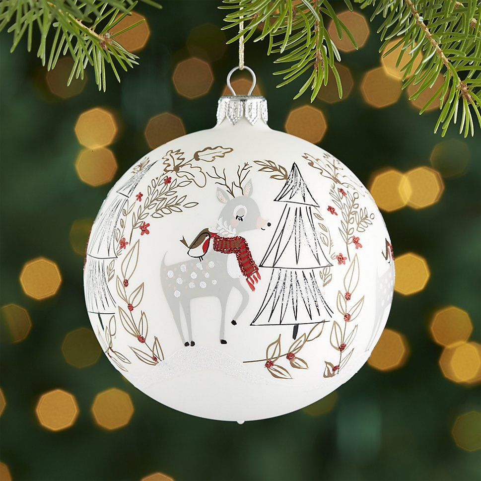 Woodland Deer Ball Ornament Crate And Barrel Christmas Tree Ornaments Christmas Fair Ideas Ornaments