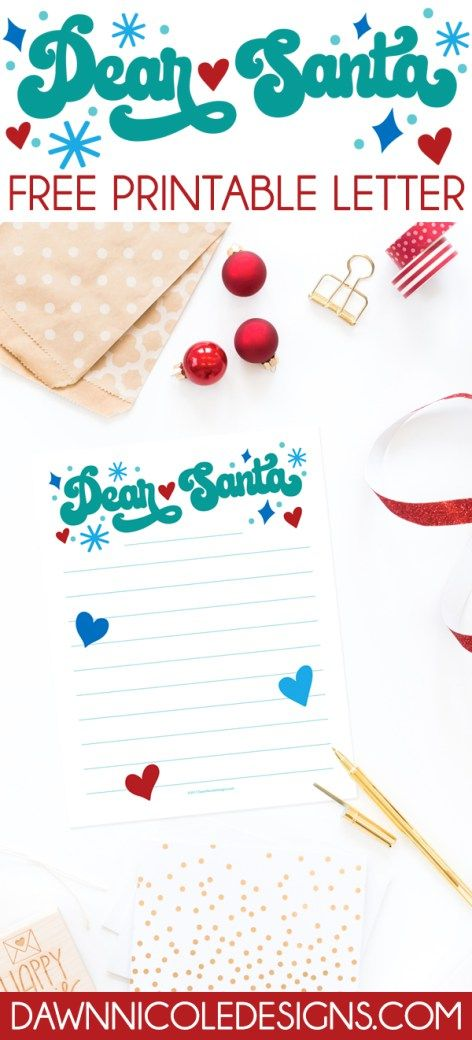 Free Printable Dear Santa Letter  Santa Letter Template Letter