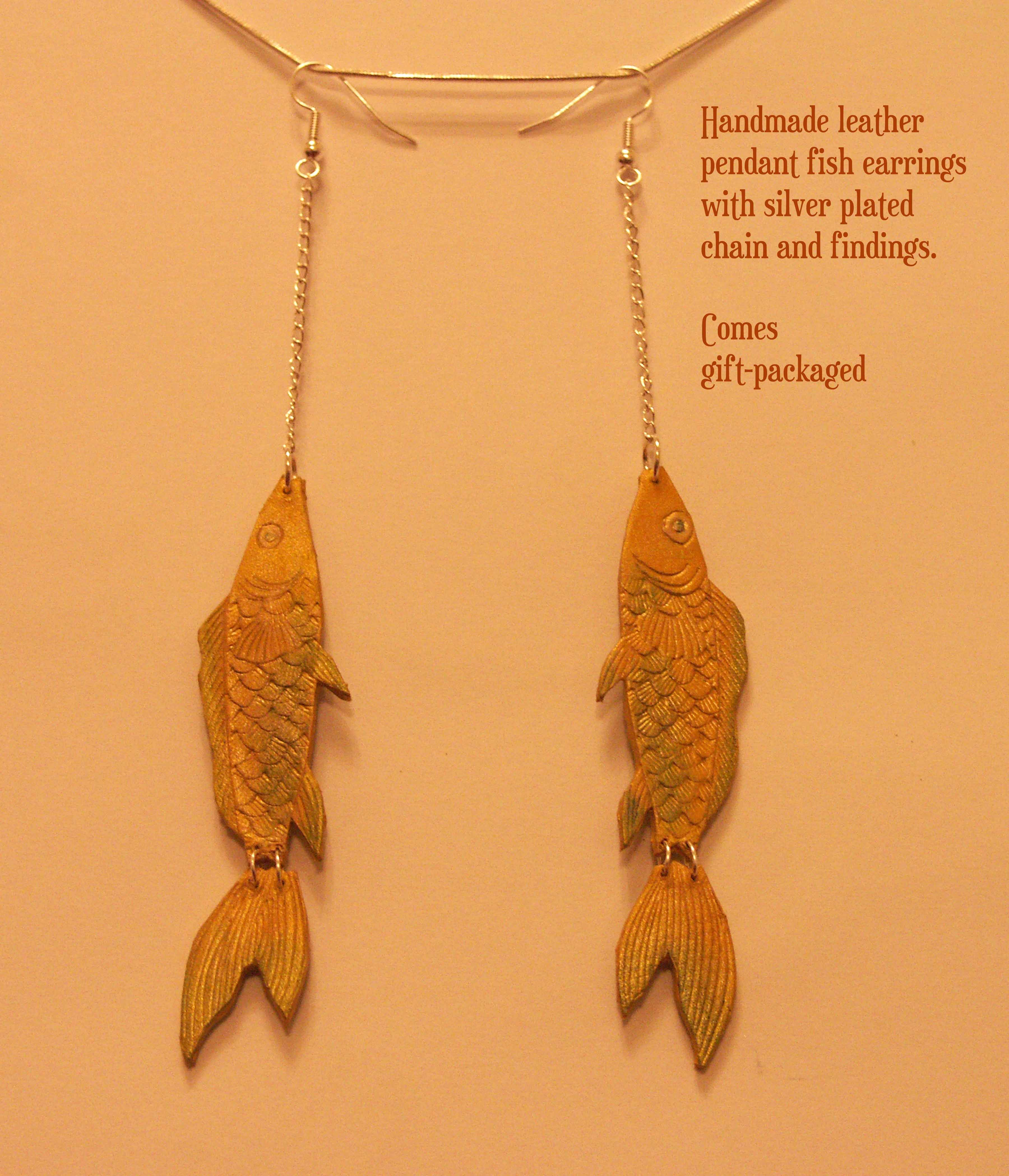 Hanging Fish leather pendant on silver plated chain. French hook earrings. (Item can be made in different colors)