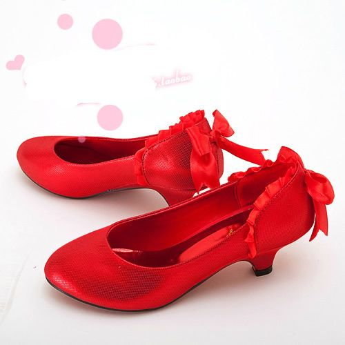 Cute Red Low Heel Wedding Bridal Party Evening Bridesmaid Shoes ...
