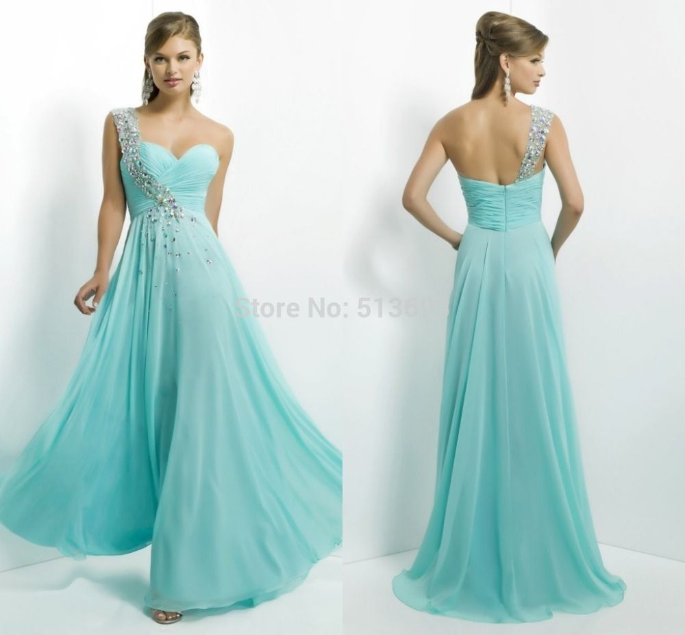 Click to buy ucuc mint green one shoulder prom gown with beaded