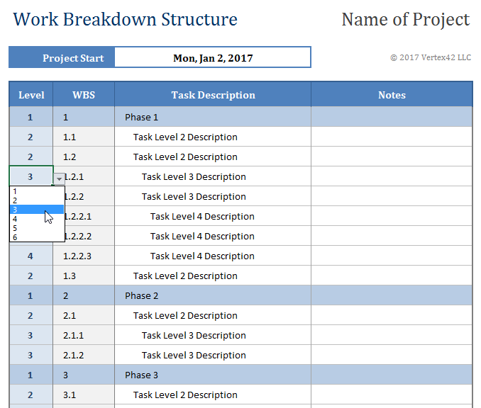 Download a work breakdown structure template from vertex42 for Product breakdown structure excel template