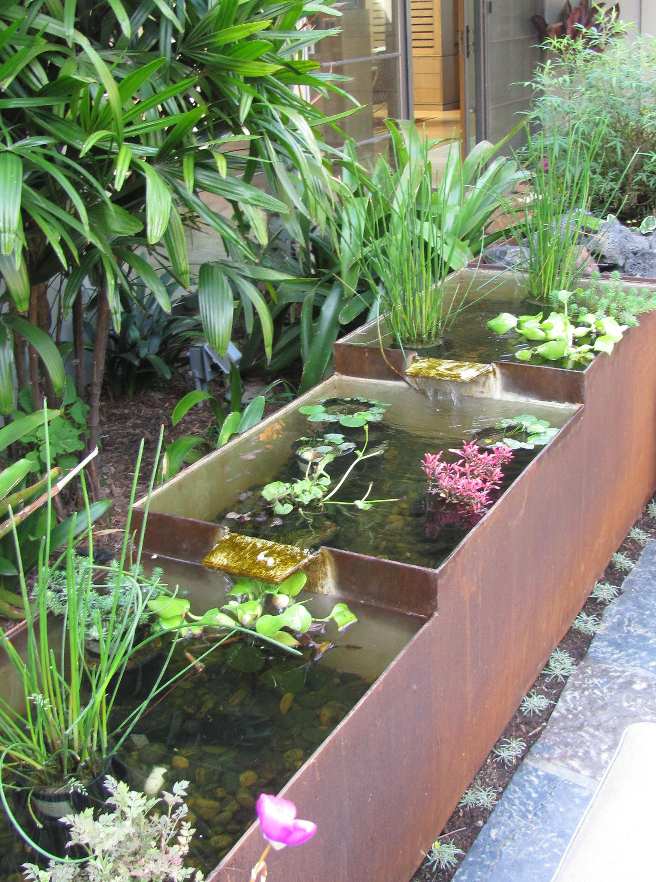 Controlled Rusted Steel Fountain Troughs