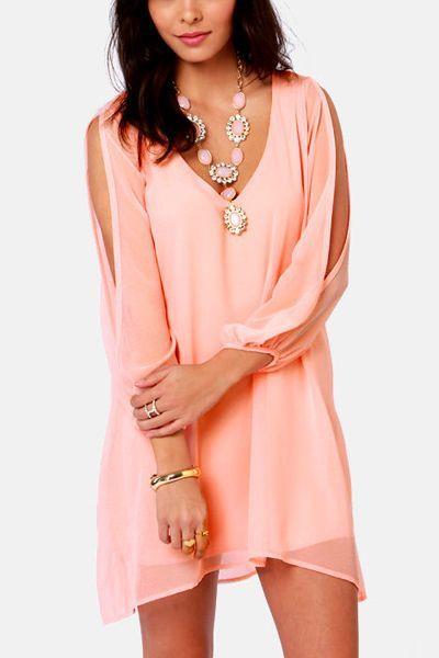 56950737caa Light Pink Slit Long Sleeve Chiffon Dress #Light #Dress #maykool