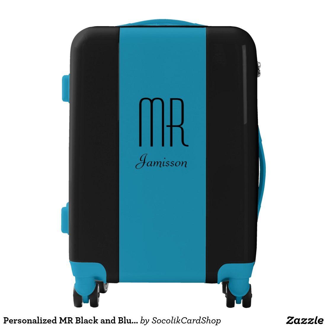 Personalized Mr Black And Blue Suitcase Zazzle Com Blue Suitcase Pink Suitcase Luggage