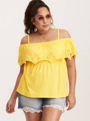 42fa2cf0acef7 Eyelet Babydoll Cold Shoulder Tank Top in Yellow