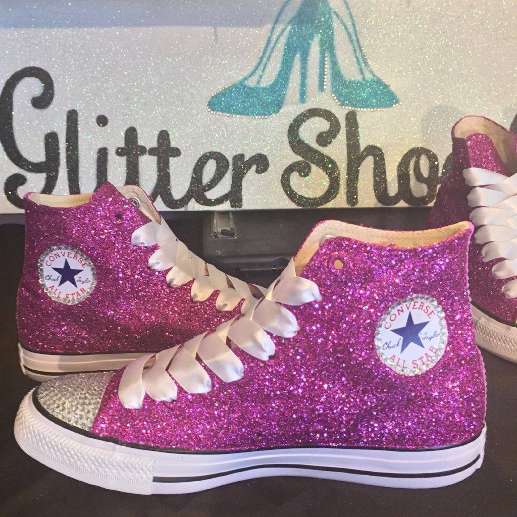 d60bfdf06e5 Women's Sparkly Glitter Converse All Stars Hi Top - Fuchsia in 2019 ...