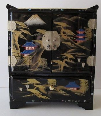Other Asian Antiques Black Lacquer Korean China Vanity And Jewelry Box With Mother Of Pearl Signed Elegant And Sturdy Package Asian Antiques