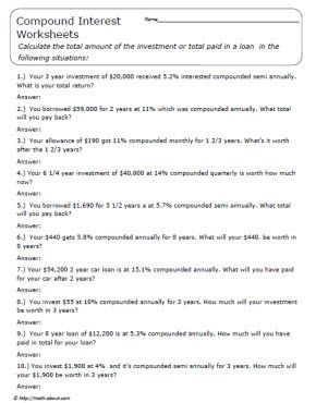 Worksheets Simple And Compound Interest Word Problems Worksheet 17 best images about gerry math on pinterest pi day 7th grade and math
