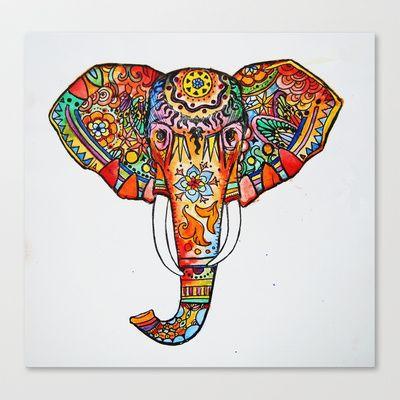 Elephant Canvas Print By Kristinasheufelt Elephant Print Art Elephant Art Colorful Elephant Tattoo