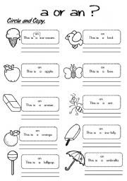 Worksheets A Or An Worksheet english worksheet a or an 2 projects to try pinterest 2