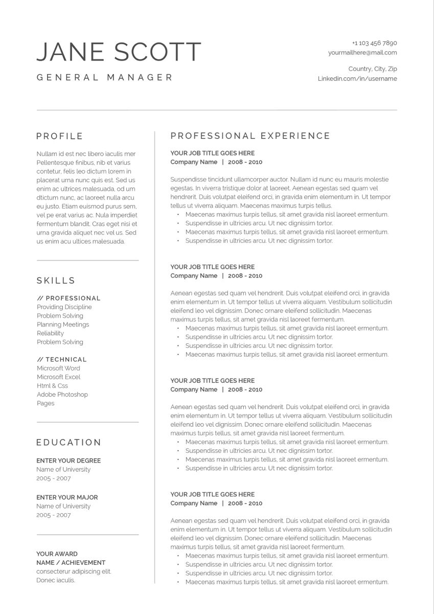 Modern Resume Template 3 Page Cv Template Cover Letter For Ms Word Instant Digital Download Jane Resume Cover Letter Template Modern Resume Template Cover Letter Template