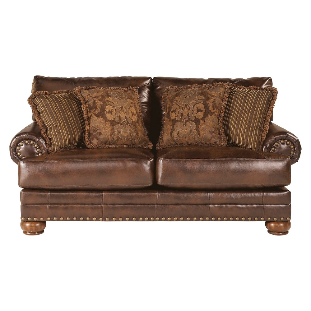 Sensational Chaling Durablend Loveseat Antique Signature Design By Bralicious Painted Fabric Chair Ideas Braliciousco